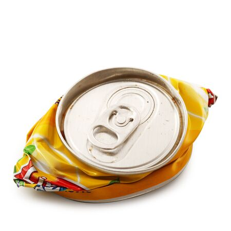 Crushed aluminum can on white background