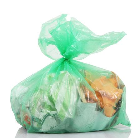 bag full of garbage on white background Stock Photo