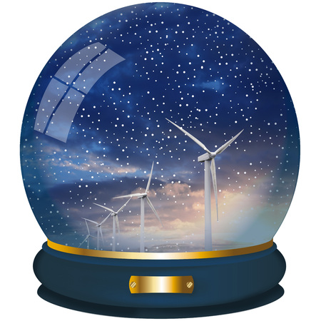crystall ball with wind turbine on white background