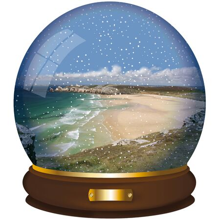 crystall ball with beach landscape on white background Stock Photo
