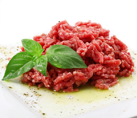 Minced raw beef ready for tartar