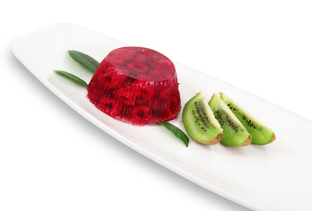 raspberries aspic with kiwi on white background