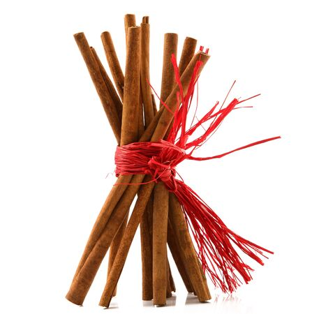 sticks of cinnamon on white background Stock Photo