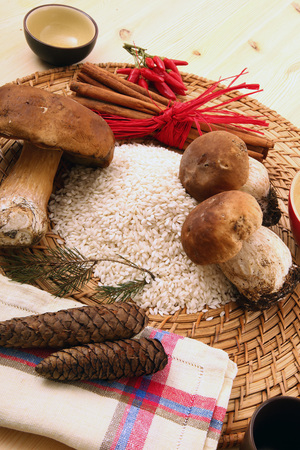 Ingredient for cooking Italian rice with mushrooms