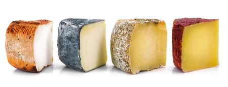 original italian cheese collage on white background