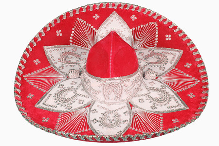 isolated red sombrero on white background Stock Photo