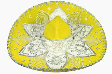 isolated yellow sombrero on white background