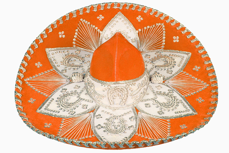 isolated orange sombrero on white background