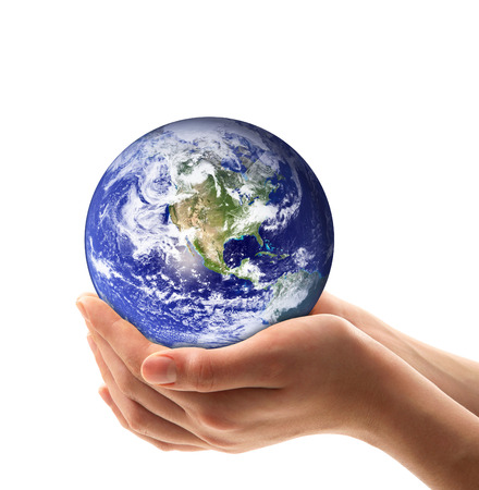 Earth hand-held on white background