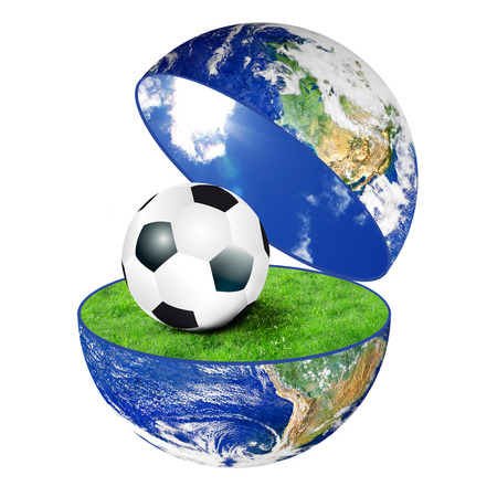 the planet Earth with soccer ball