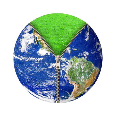the planet Earth with grass and zip