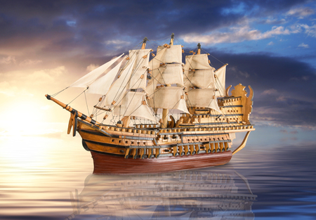 old galleon sailing on calm sea  Stock Photo