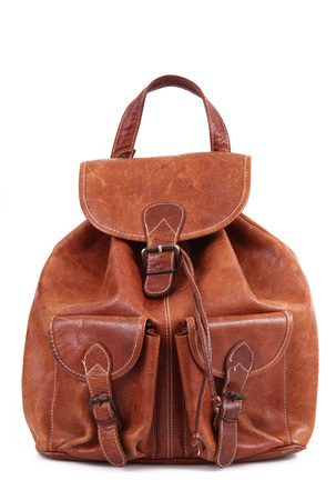 leather backpack on white background Stock Photo
