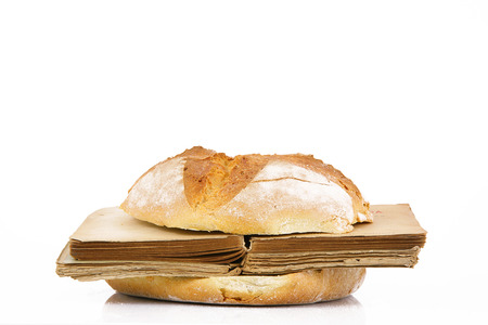 sandwich with book on white background Stock Photo