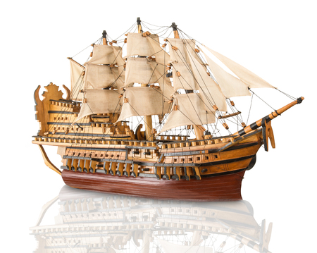 old model of galleon on white background Stock Photo - 95931606