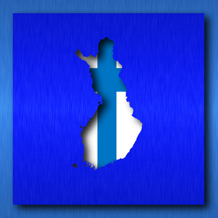 finland map on blue background