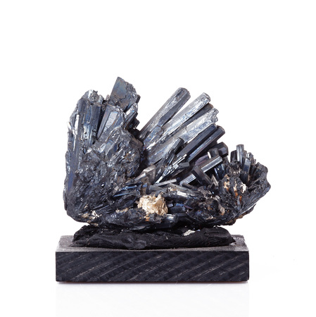 isolated antimonite crystals on white background Stock Photo