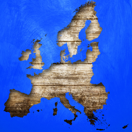 European map on wooden background