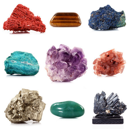 isolated mineral crystals collage on white background