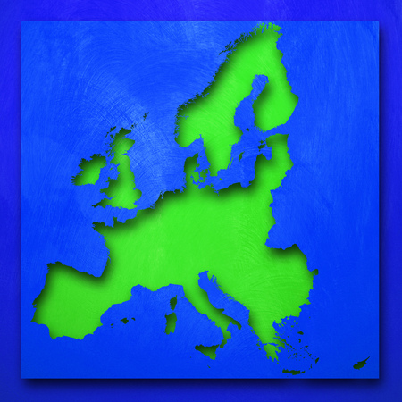 European green map on blue background