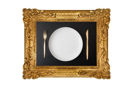 empty dish in frame hanging on white