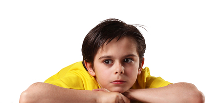 Thoughtful kids on white background