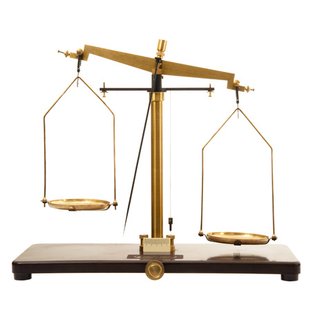 old scales on white background