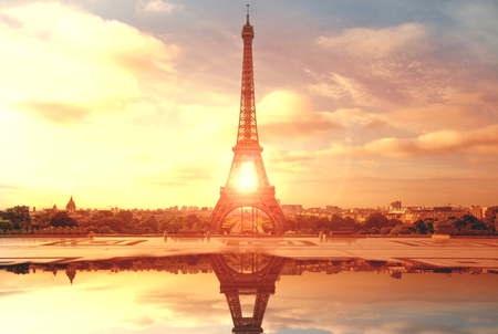 landscape of the Eiffel Tower in Paris at sunset
