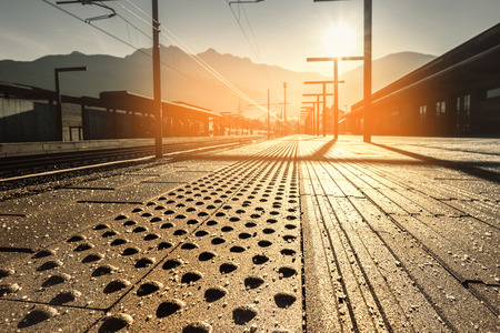 railway station in cold winter morning Stock Photo