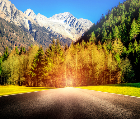 a Mountain Road with blinding glare