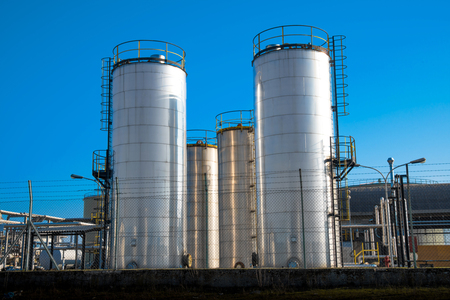 a Metallic silos of a chemical plant