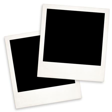 two Old Polaroid on white background Standard-Bild