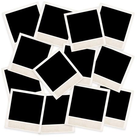 many Old Polaroid on white background
