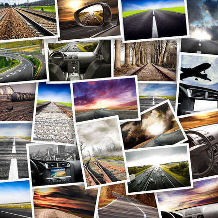 a Collage of various photographs related to transport