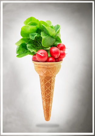 a Delicious ice cream cone with radishes taste Stok Fotoğraf