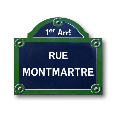 une plaque originale Rue de Paris sur fond blanc