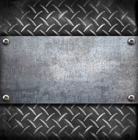 an industrial metal plate on a vintage background