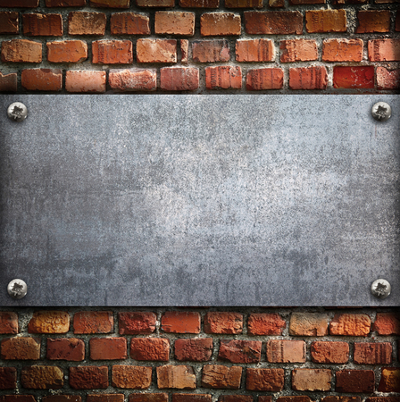 an industrial metal plate on a wall background