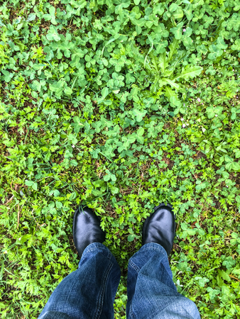 standing on a grass floor