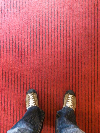 standing on a fabric floor