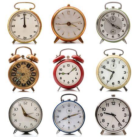 a vintage alarm clock collection