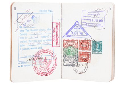a open passport with stamps