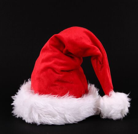 a Santa Claus hat on black background