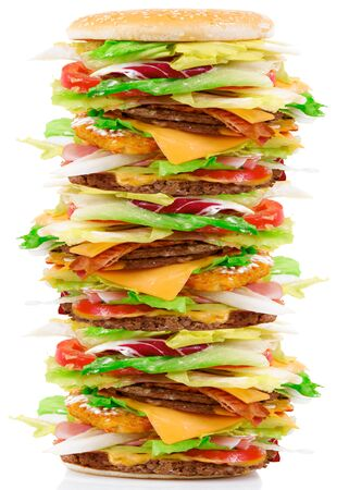 a giant sandwich with salade and hamburger