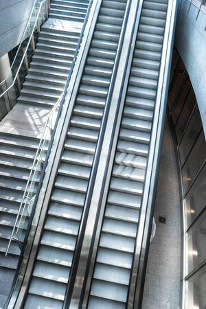 an escalator at shopping center