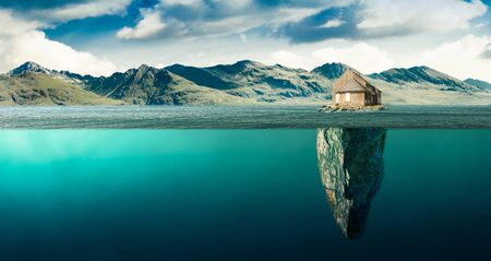 an isolated house on an island in the middle of the bay