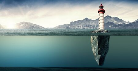 an island with lighthouse in a wild sea Archivio Fotografico