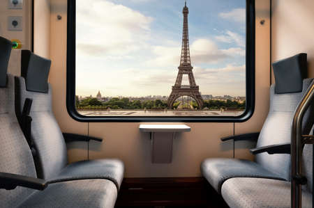 The Eiffel Tower seen from a subway car window