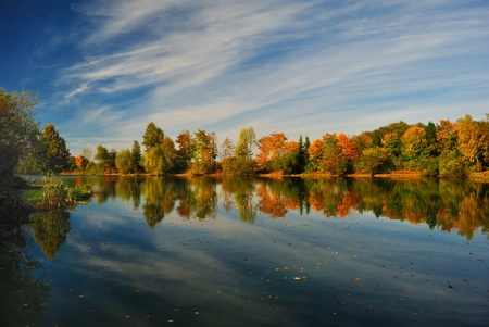 Lake in autumn, in wonderful colors