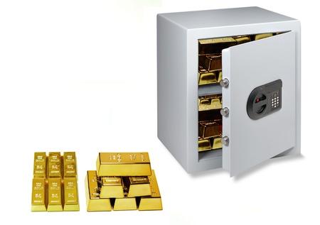Gold, Goldbarren, Safe Lizenzfreie Bilder